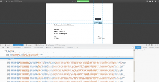 testIT PDF Tester - canvas element with Firebug in Firefox