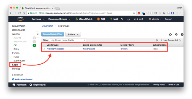 Check your logs with CloudWatch | Novatec