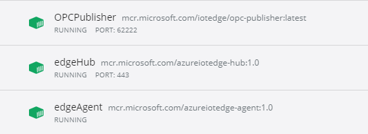 Docker Container von Azure IoT Edge und OPCPublisher