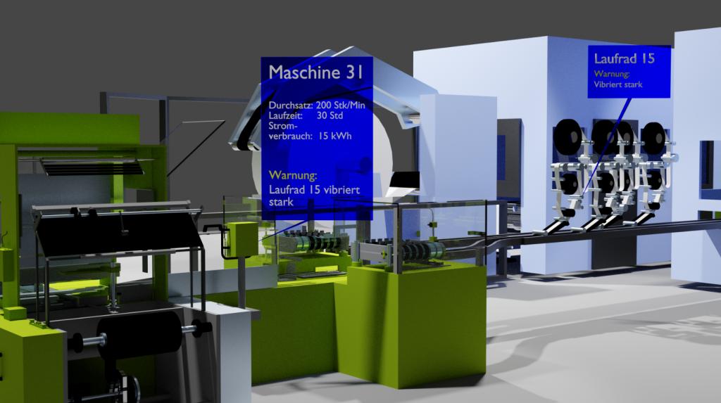 Produktionsband mit eingeblendeten Informationen von OPC UA zur Maschine über Hololens