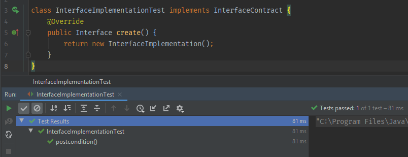 Successful interface contract test run in intellij