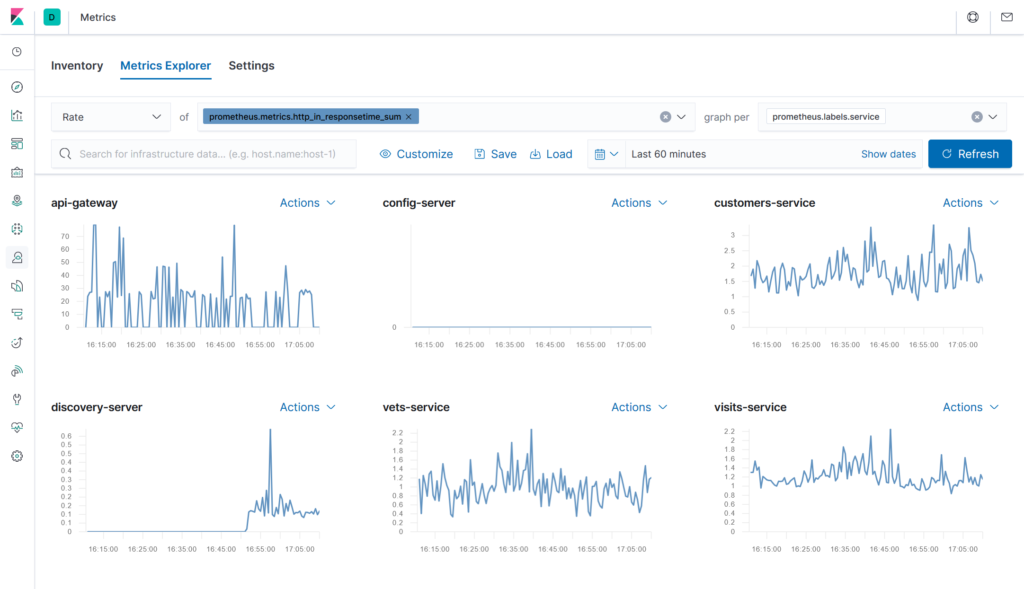 Ocelot Data in Elastic APM - Metrics